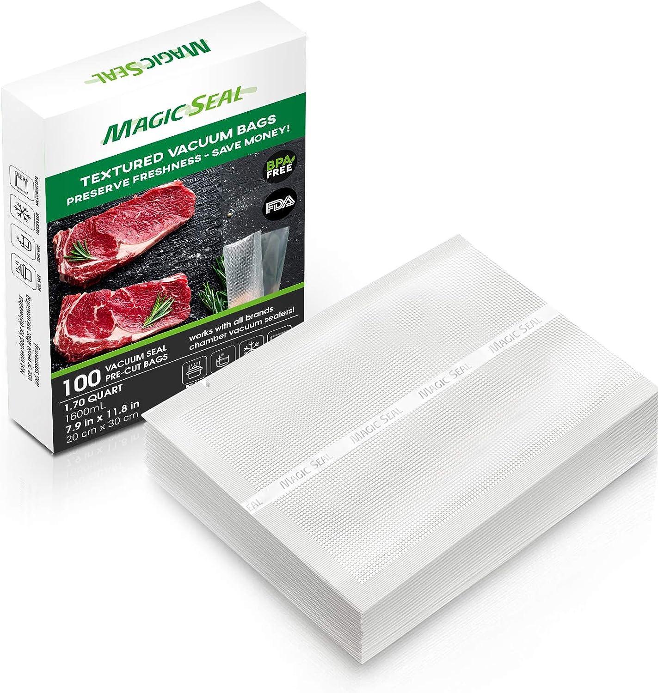 MAGIC SEAL 7.9''×11.8'' Vacuum Sealer Bags (100pcs) for GERYON, Mueller, Food Saver, BPA Free, Commercial Grade, Freezer & Boiling Safe, For vac storage, Sous Vide, Pre-Cut Bags