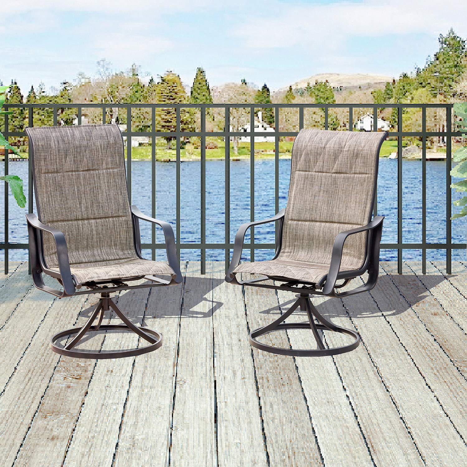 Top Space 2 Piece Swivel Bar Stools Outdoor High Patio Chairs Furniture with All Weather Metal Frame (2 Bar Chairs,Grey) by Top Space