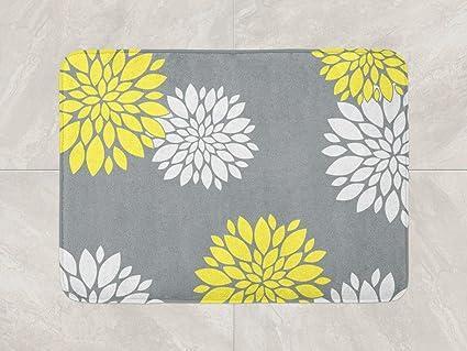 Amazon Com Floral Bath Mat Yellow Grey Bathroom Decor Foam Bath Rug