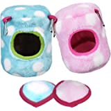 BBTO 2 Pieces Hamster Hammock 11 cm Pet Bed Winter Warm Cotton Hammock Toy Pet Plush Hamster House Small Animal Cage