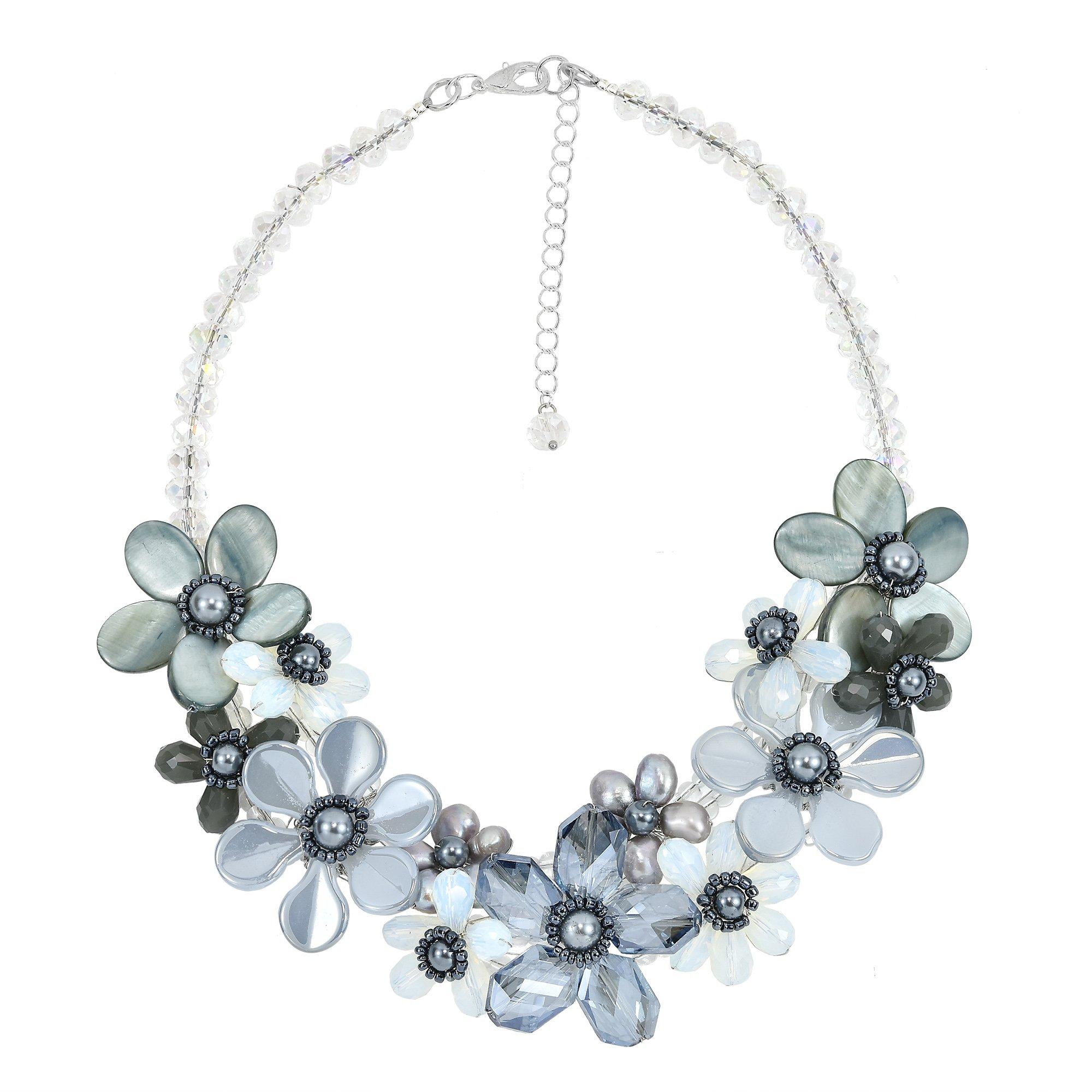 AeraVida Romantic Moonlight Smokey Floral Sparkling Fashion Crystal Statement Necklace