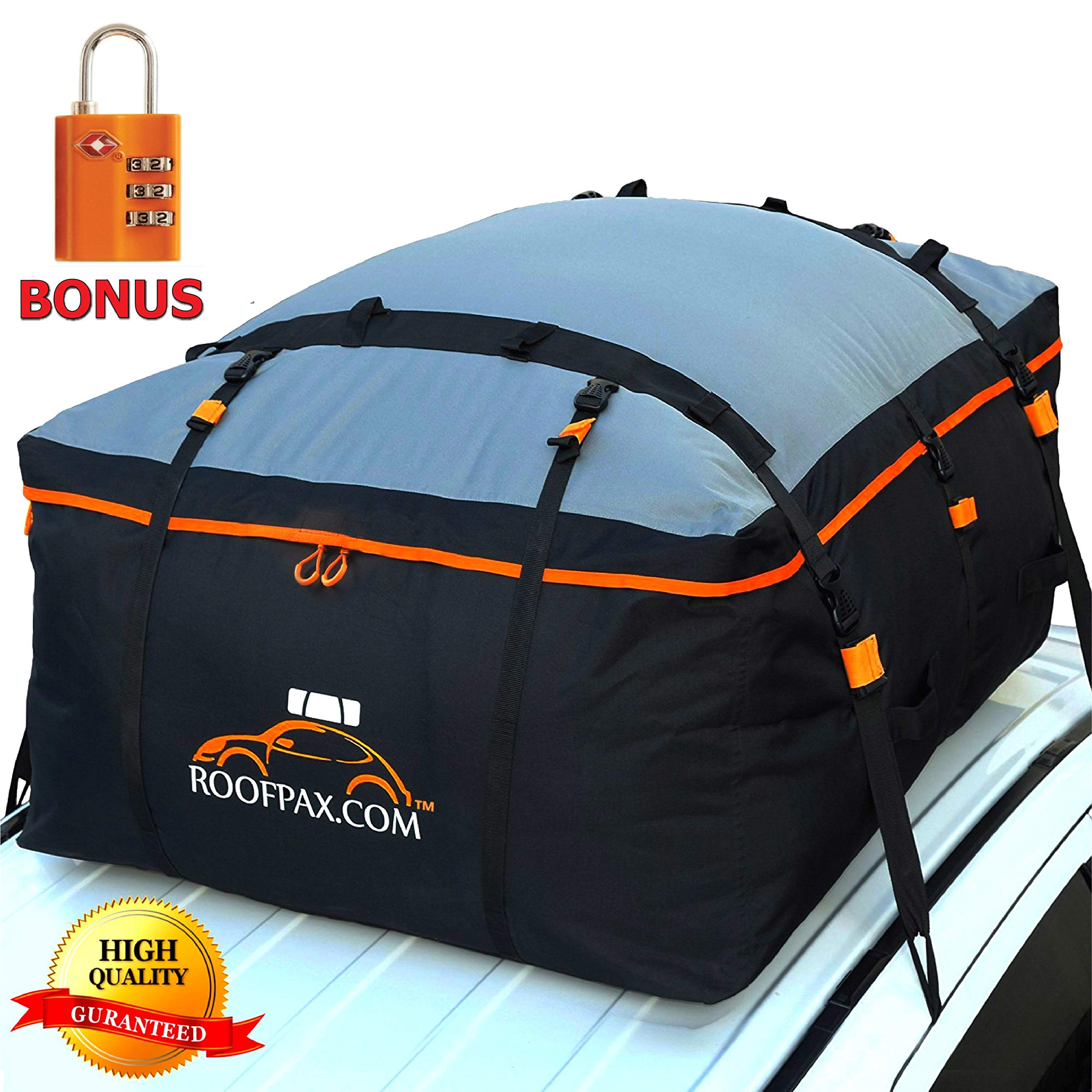RoofPax Car Roof Bag & Rooftop Cargo Carrier - 15 Cubic Feet Heavy Duty Bag, 100% Waterproof Excellent Military Quality Roof-Top Car Bag - Fits All Cars with/Without Rack - 4 Door Hooks Included by RoofPax