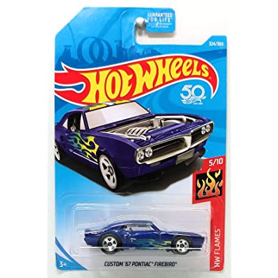Hot Wheels 2020 Die-Cast Vehicle Hw Flames - Custom '67 Pontiac Firebird (Dark Blue): Toys & Games