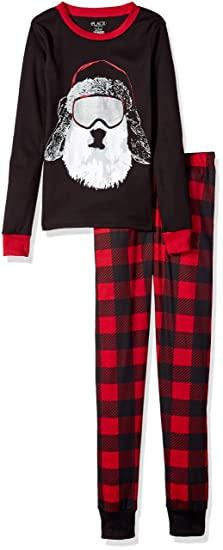 the childrens place boys christmas long sleeve top and pants pajama set black 90451