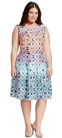 c88e517eca3 Melonie T Women s Plus Size Sleeveless Printed A-Line Dress (24W ...