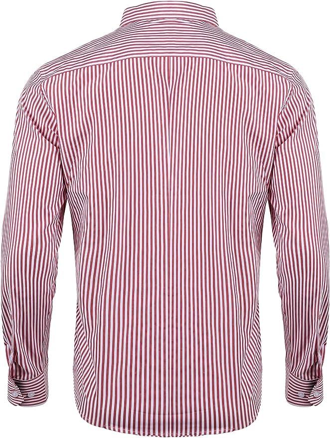 iClosam Camisa Casual Hombre Manga Larga Rayas Slim Fit ...