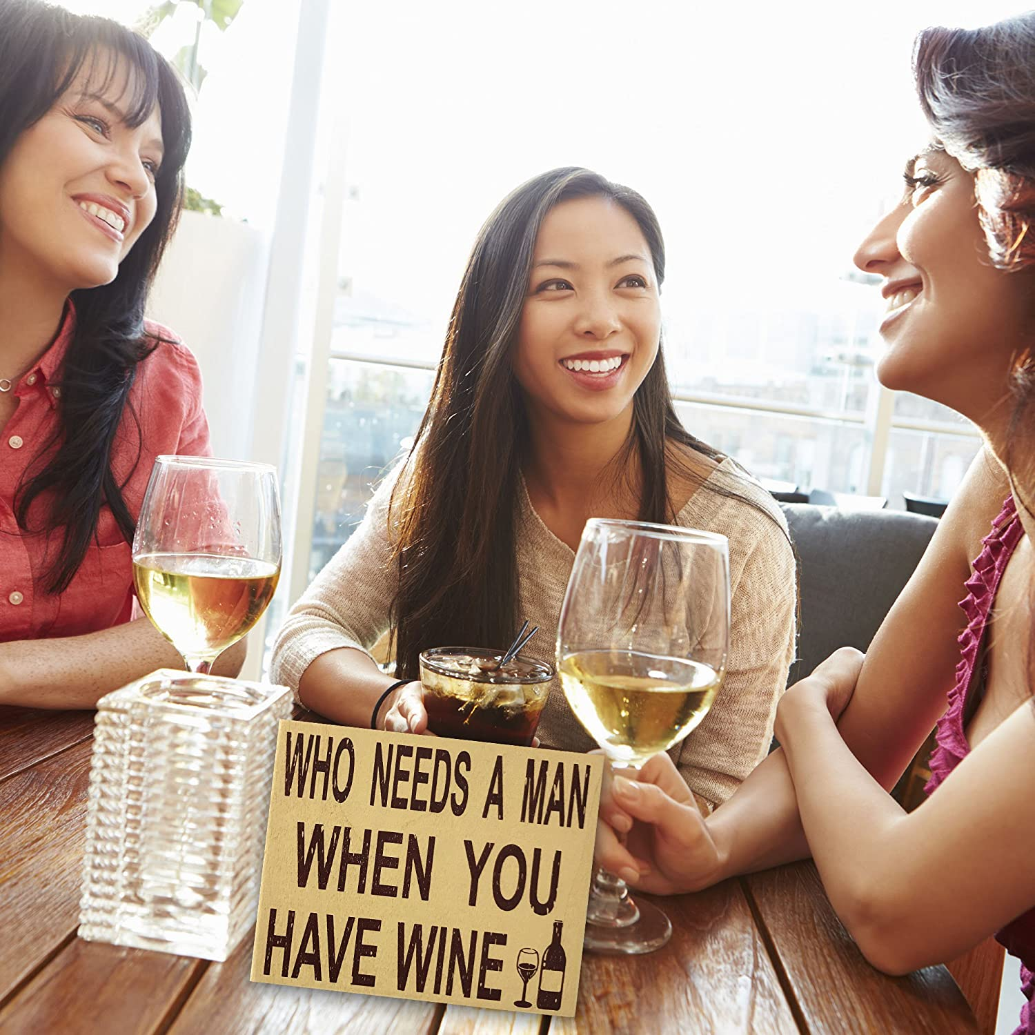 Wine Quotes Single Life She Shed Sign Divorce Party JennyGems Stand Up Sign Man Haters Funny Photo Prop Quotes Signage Who Needs A Man When You Have Wine