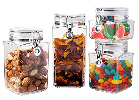Saganizer Acrylic Food Storage Container With Lid Canister Set