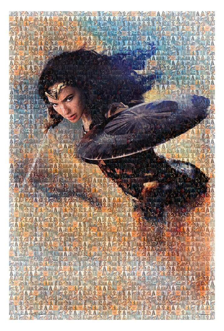 """Wonder Woman Mosaic Poster - Size 24"""" X 36"""" - This is a Certified (Poster Office) Print with Holographic Sequential Numbering for Authenticity."""