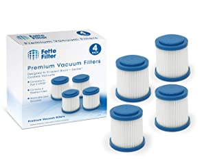 Fette Filter - Pleated Vacuum Filter Compatible with Black + Decker SMARTECH 2-in-1 Cordless Lithium Stick Vacuums. Compare to Part # VPF20. (4-Pack)