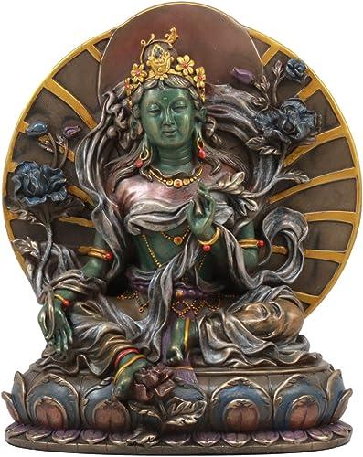 Ebros Arya White Tara Seated On Lotus Throne Statue 6.5 Tall Tibetan Buddha Goddess Of Compassion Figurine Female Bodhisattva Jetsun Dolma