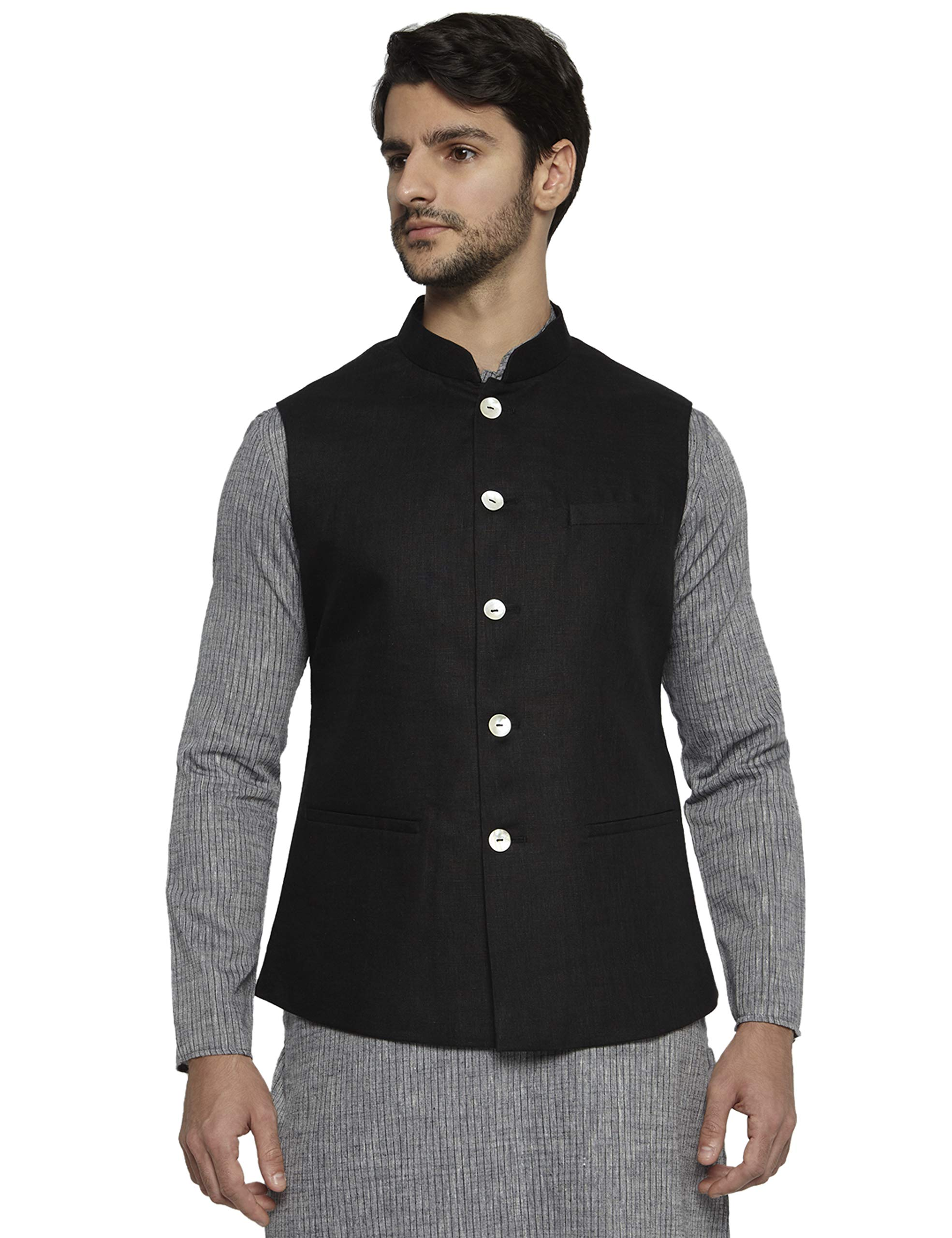 Ethnix by Raymond Men's Black Linen Nehru Jacket L