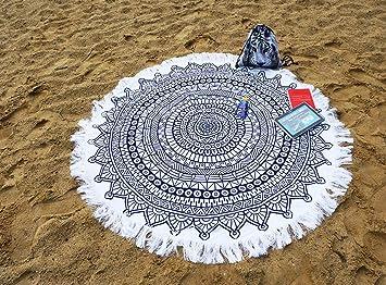 Ferocity Mandala Ronda Toalla de Playa con Suave frotté de Arena, Agua, Piscina, Viajar, Acampar, Comida campestre Azul Marino-Blanco Navy Blue-White [060]: ...