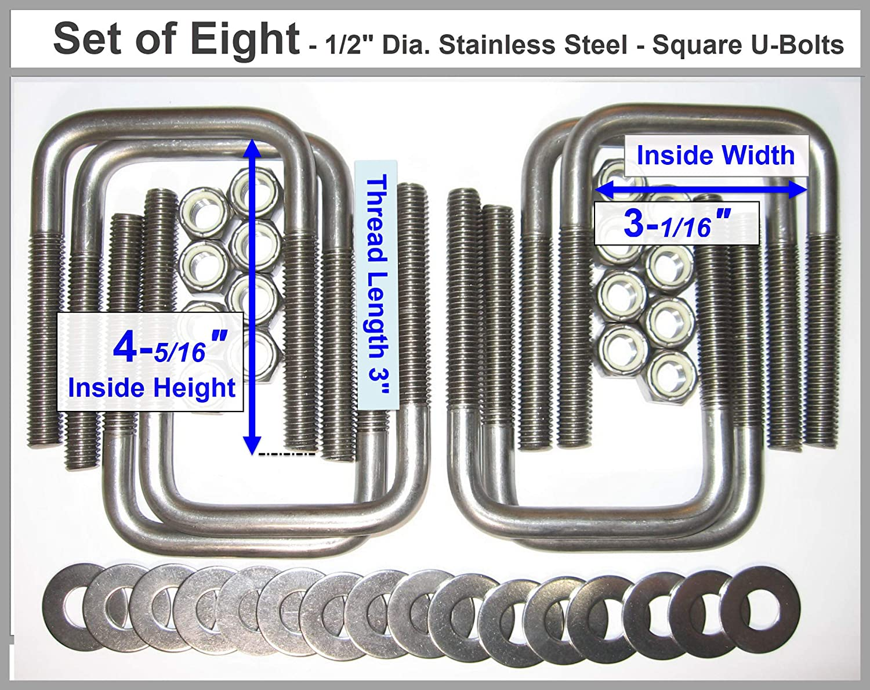 Stainless Steel Square U-Bolts Boat Trailer U bolt Ubolt 1//2 D x 3 1//16 W x 4 5//16 L Made in U.S.A. 8
