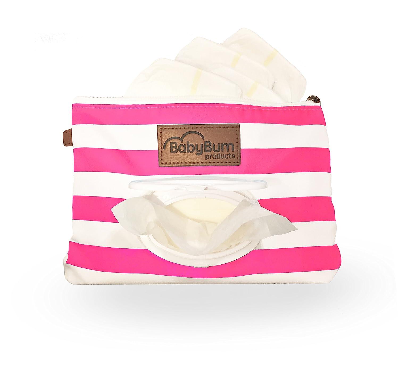 Gray BabyBum Diaper Clutch + Pink Mini Diaper Cream Brush - Travel Essentials Baby Bumco