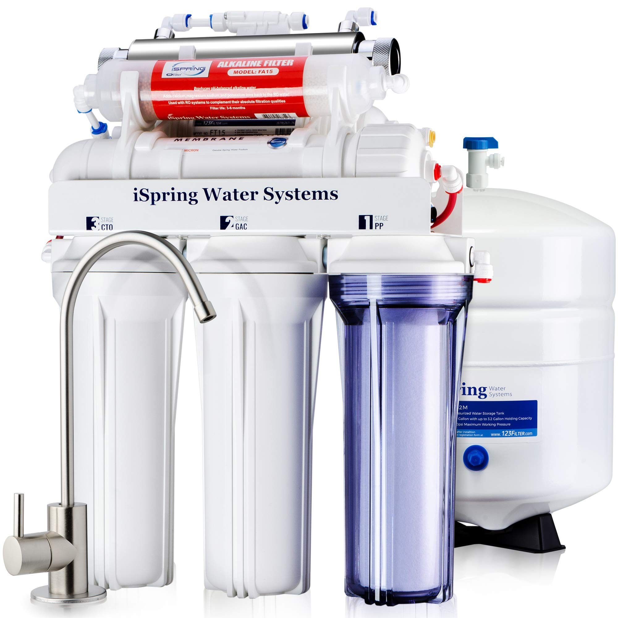 iSpring RCC7AK-UV Deluxe Under Sink 7-Stage Reverse Osmosis Drinking Water Filtration System with Alkaline Remineralization and UV Sterilizer by iSpring