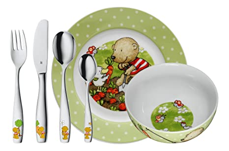 WMF Pitzelpatz - Vajilla para niños 6 piezas, incluye plato, cuenco y cubertería (