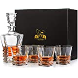 Van Daemon Whisky Decanter (750ml) and Set of 4 Whiskey Glasses (300ml). Lead Free Crystal 'Hobart' for Liquor, Bourbon or Scotch. Perfectly Gift Boxed.