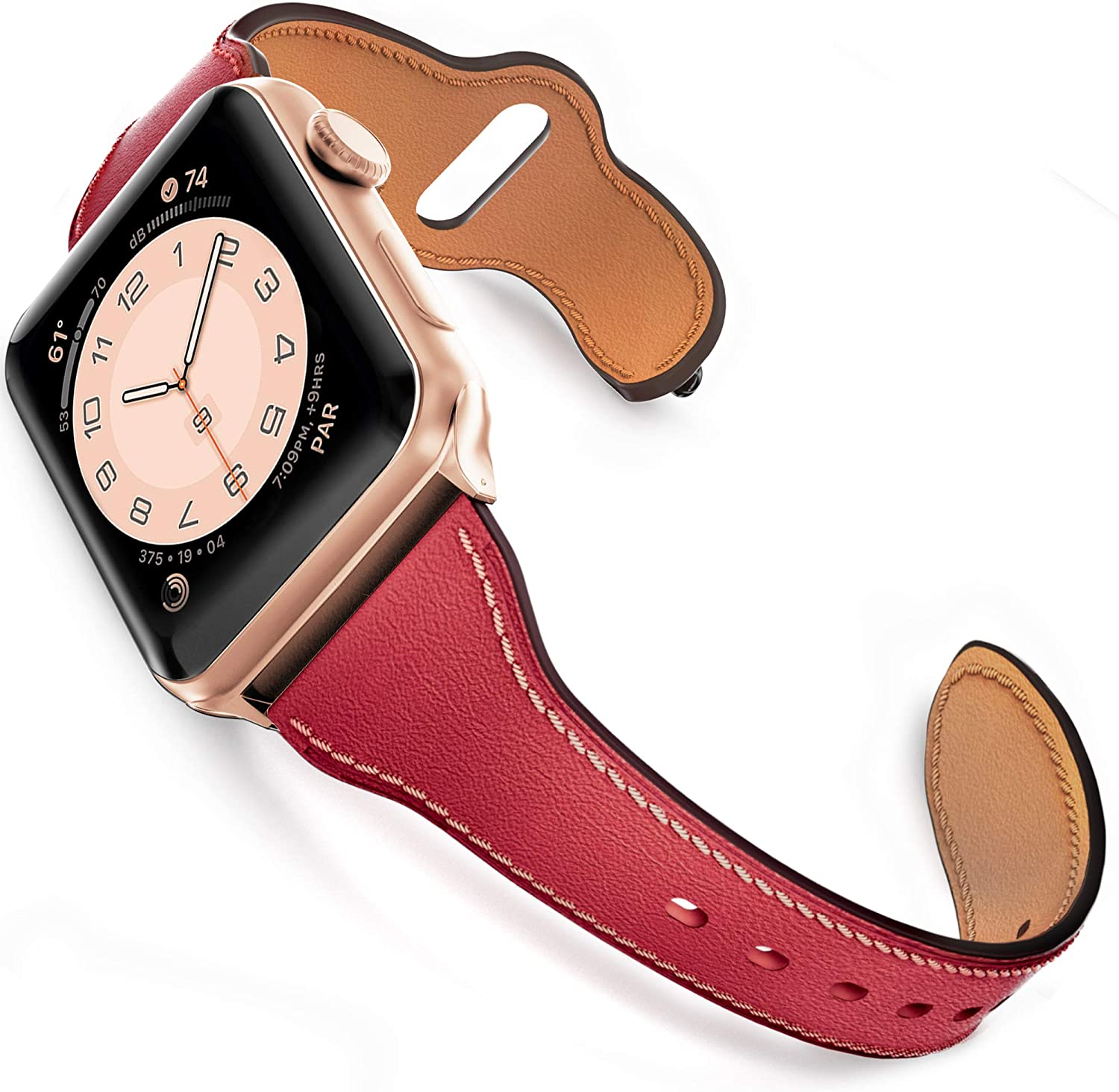 GZ GZHISY Leather Band Compatible for Apple Watch 42mm 44mm, Slim Thin Genuine Leather Narrow Watch Strap Replacement for Women Compatible for iWatch Series 6/SE/5/4/3/2/1, S/M Wine Red