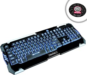 ENHANCE GX-K2 LED Keyboard with Multimedia Hotkeys , Hybrid Switches & 3 Color-Changing Backlights - Works with Lenovo Erazer X315 , Origin Chronos , Digital Storm Eclipse & more Gaming Desktops