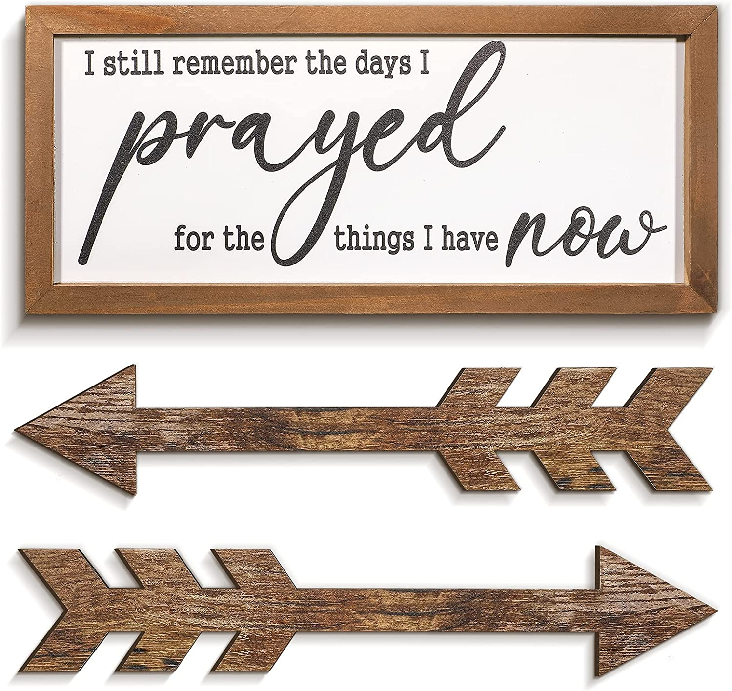 3 Pieces I Still Remember the Days I Prayed Sign and Wooden Arrow Hanging Sign Rustic Farmhouse Home Decor Sign Wall Hanging Decorations with Solid Wood Frame for Living Room Farmhouse Housewarming