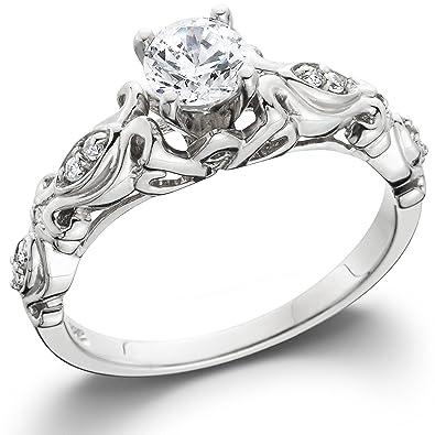 Vintage White Gold Enement Rings   1 2ct Vintage Diamond Engagement Ring 14k White Gold Amazon Com