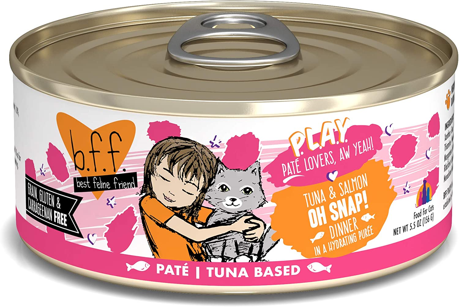 B.F.F. PLAY - Best Feline Friend Paté Lovers, Aw Yeah!, Tuna & Salmon Oh Snap! with Tuna & Salmon, 5.5oz Can (Pack of 8)