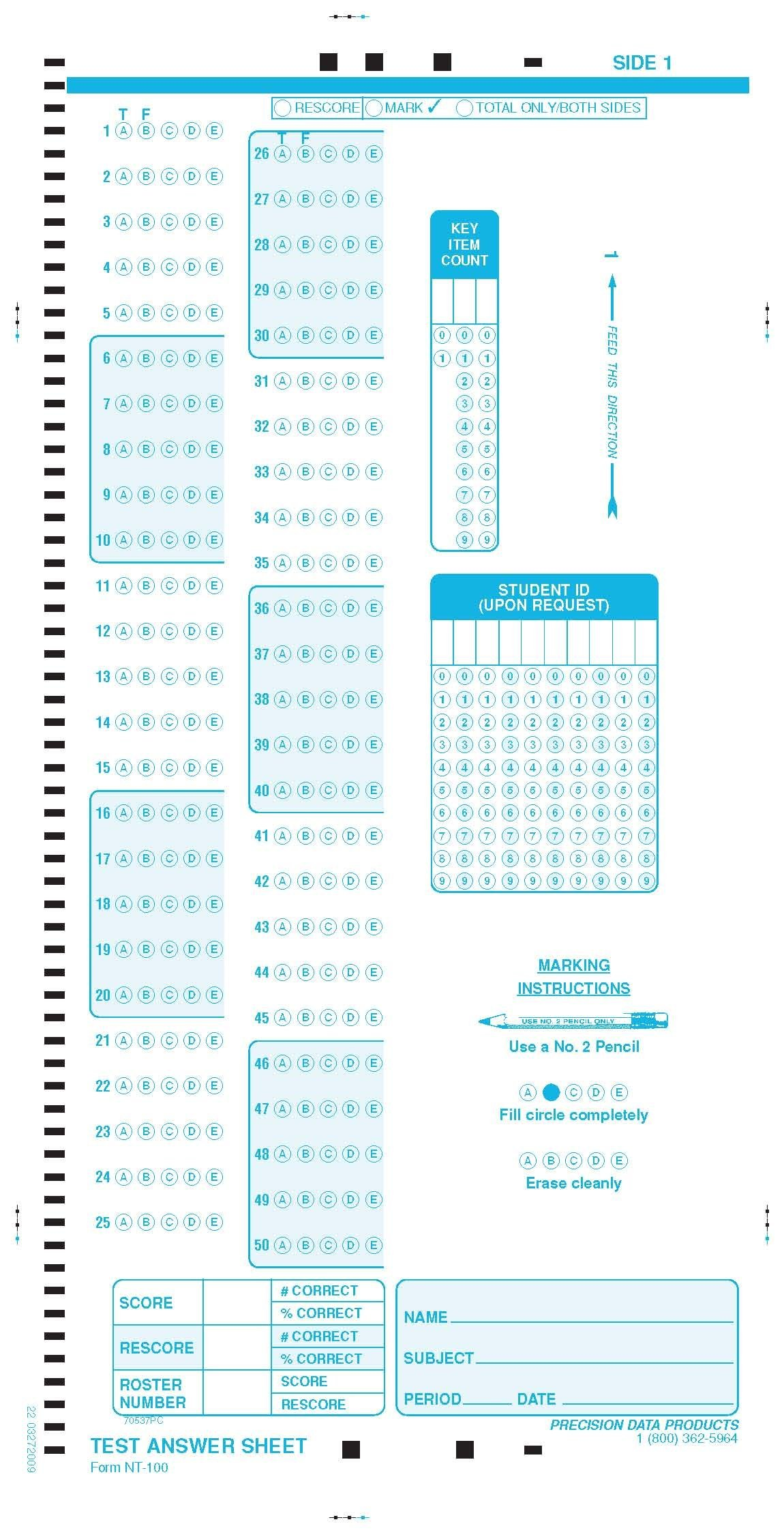Precision Data Products PDP NT 100 (100 PACK) TESTING FORMS, Scantron 19641-B compatible