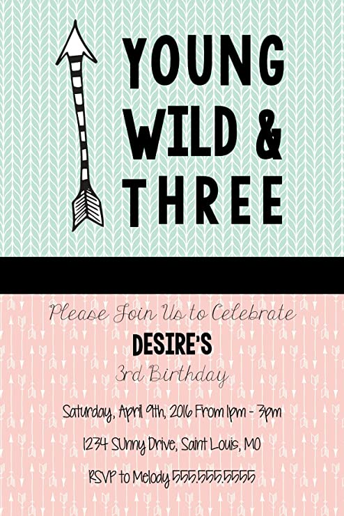 Custom Birthday Party Invitation - Young Wild and Three