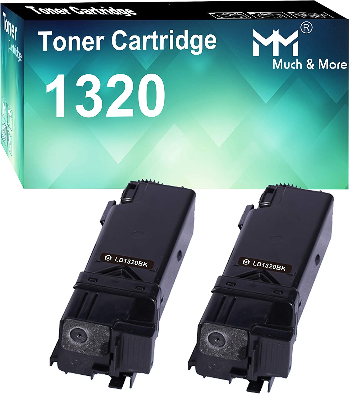 MM MUCH & MORE Compatible Toner Cartridge Replacement for Dell 310-9058 1320 to Used with Dell Color Laser 1320c Printer (2 x Black, High Yield)