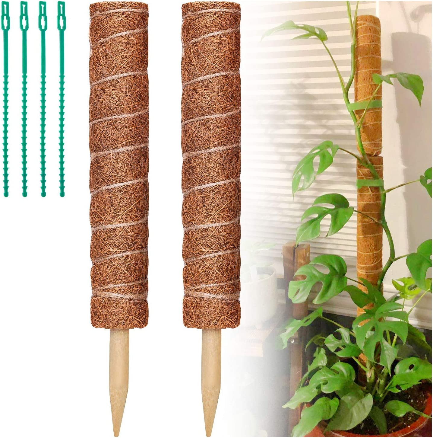 FFNIU730 Moss Pole - 2 Pack 17.7 Inches Plants Support Moss Stick with 4 Pcs Plant Twist Ties, Coir Moss Totem Pole for Climbing Plants, Potted Plants, Monstera