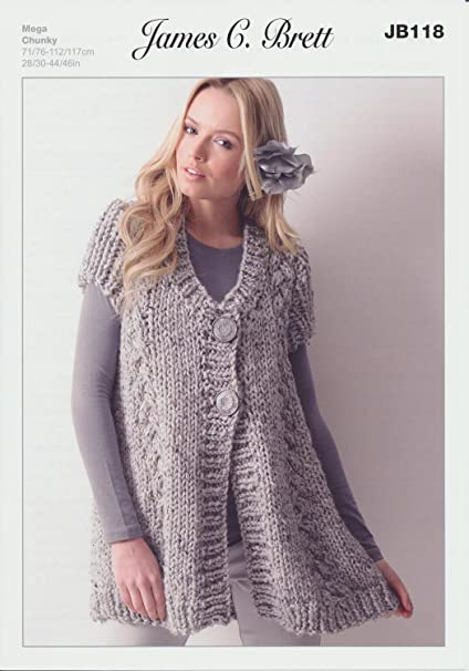 James C Brett-señoras Sweater Vestido Aran Tejer patrón-Jb100