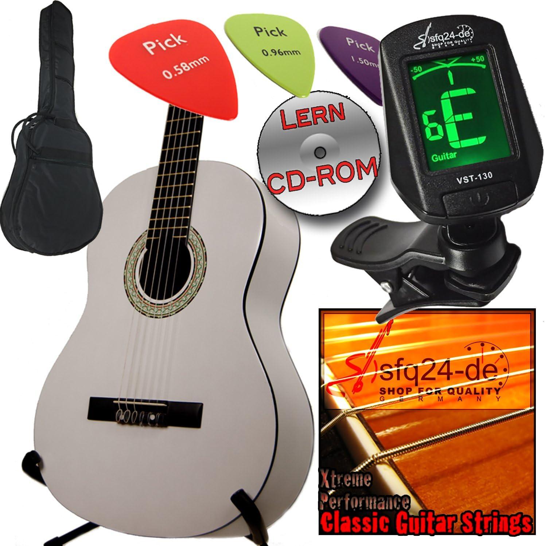 Guitarra clásica para zurdos color blanco, Ashley con funda ...