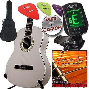Ashley zurdos escolar y principiantes Guitarra clásica Blanco 3/4 con juego, funda, afinador,, Cejilla, cuerdas, 3 púas y aprendizaje de CDROM: Amazon.es: ...