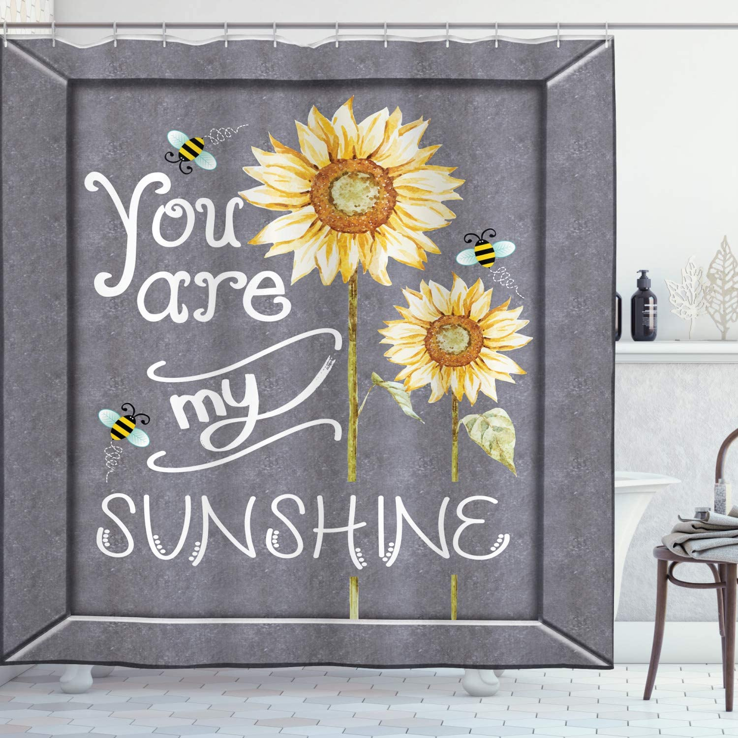 Ambesonne You are My Sunshine Shower Curtain, You are My Sunshine Words on  Blackboard Bees Sunflowers Vintage Image, Cloth Fabric Bathroom Decor Set