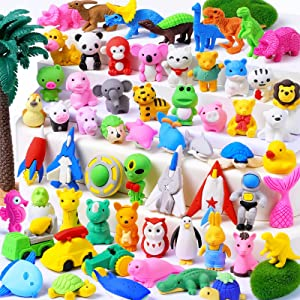 WITALENT 60 Pcs Animal Erasers for Kids Pencil Erasers Puzzle Erasers Bulk Toys Take Apart Erasers 3D Mini Erasers Classroom Rewards Prizes Carnivals Treasure Box Toy Party Favors for Kids Gifts