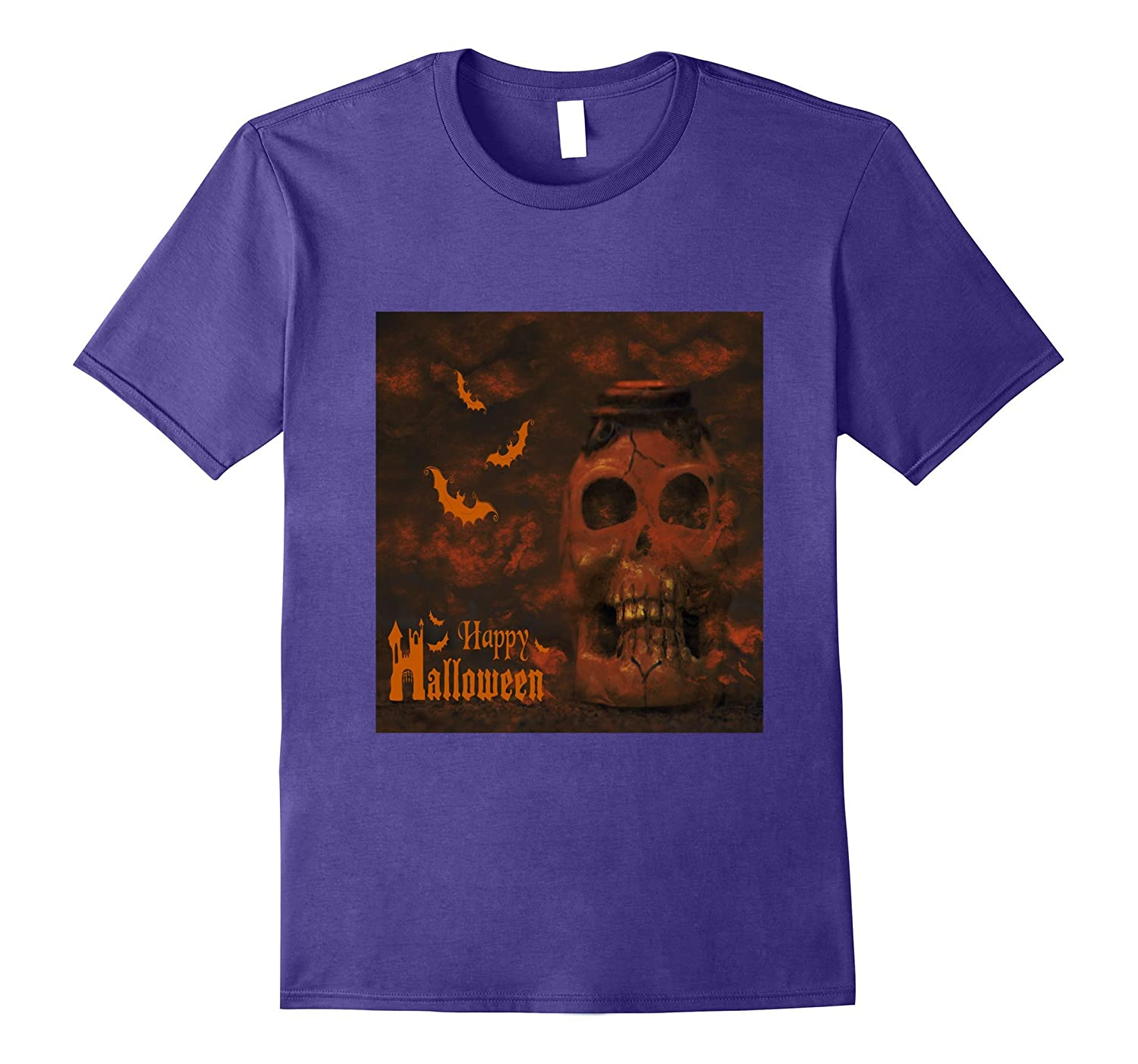 Skeleton Skull Head And Bats Horror Halloween T-Shirt scary-TJ