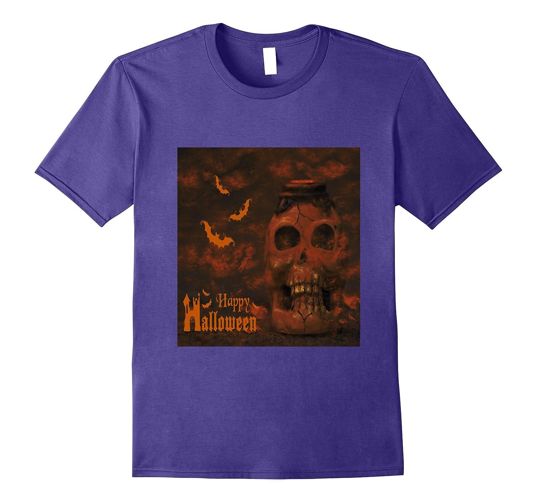Skeleton Skull Head And Bats Horror Halloween T-Shirt scary-TJ