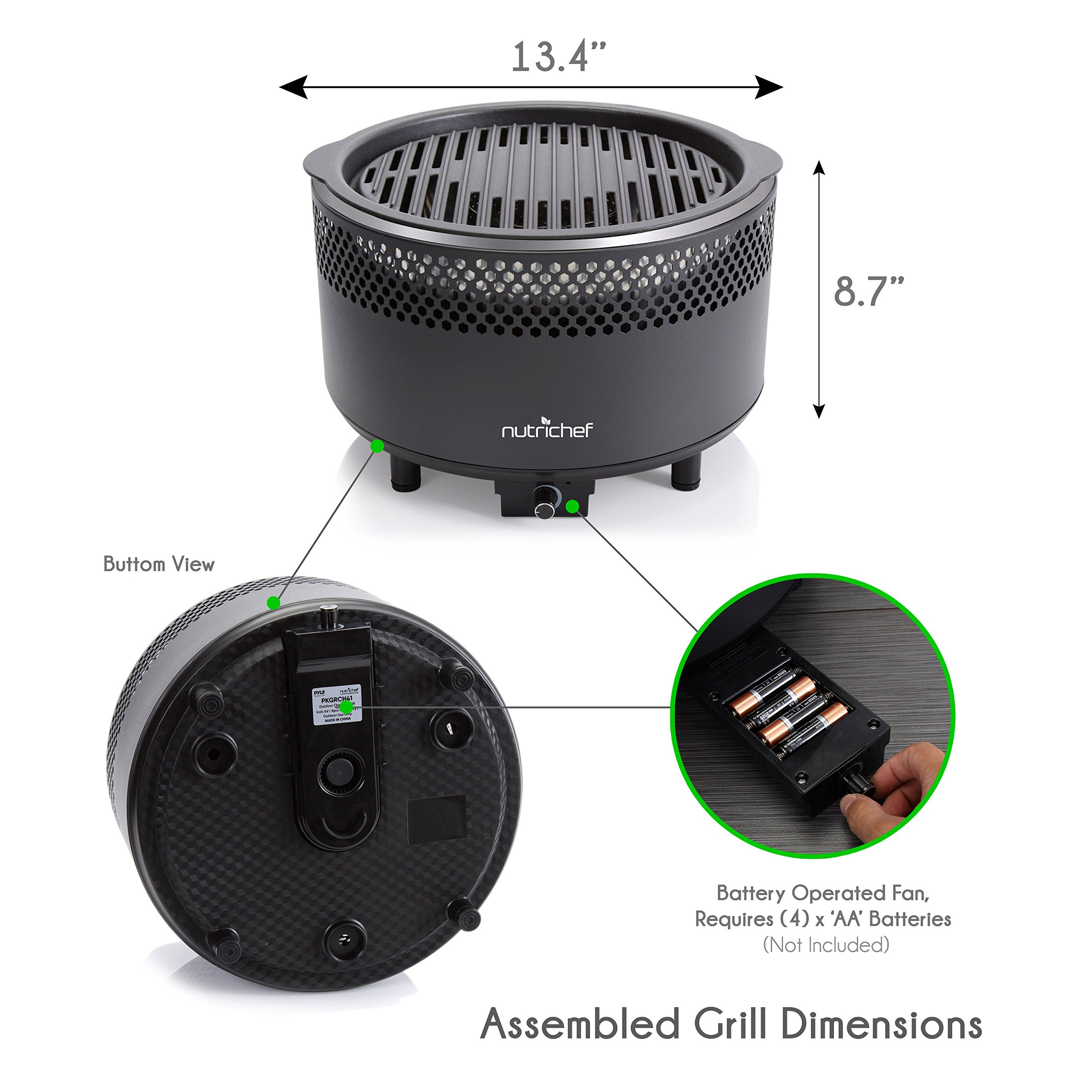 NutriChef Upgraded Charcoal BBQ Grill - Smokeless Portable Outdoor Stainless Steel Compact Easy Cleaning Heavy Duty - Battery Powered W/ Grilling Rack Coal Basket Ignition Tray & Box Set - PKGRCH41 by NutriChef (Image #4)