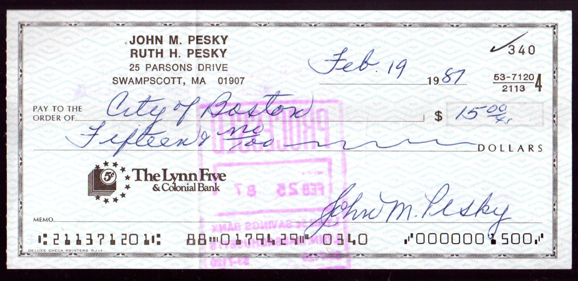 Johnny Pesky Autographed Cancelled Bank Check Boston Red Sox