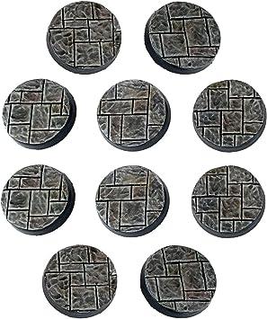 War World Gaming Fantasy Village - Peanas Redondas de Adoquines x 10 (25mm) - 28mm Wargaming Diorama Miniaturas Batalla Medieval Edad Media Maqueta Wargame: Amazon.es: Juguetes y juegos
