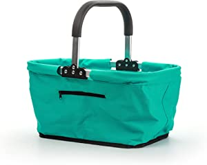 RSVP International Collapsible Market Basket, Turquoise | Aluminum Frame | Polyester Fabric | Large Zippered Compartmet | Space-Saving Storage, One Size, Turqouise