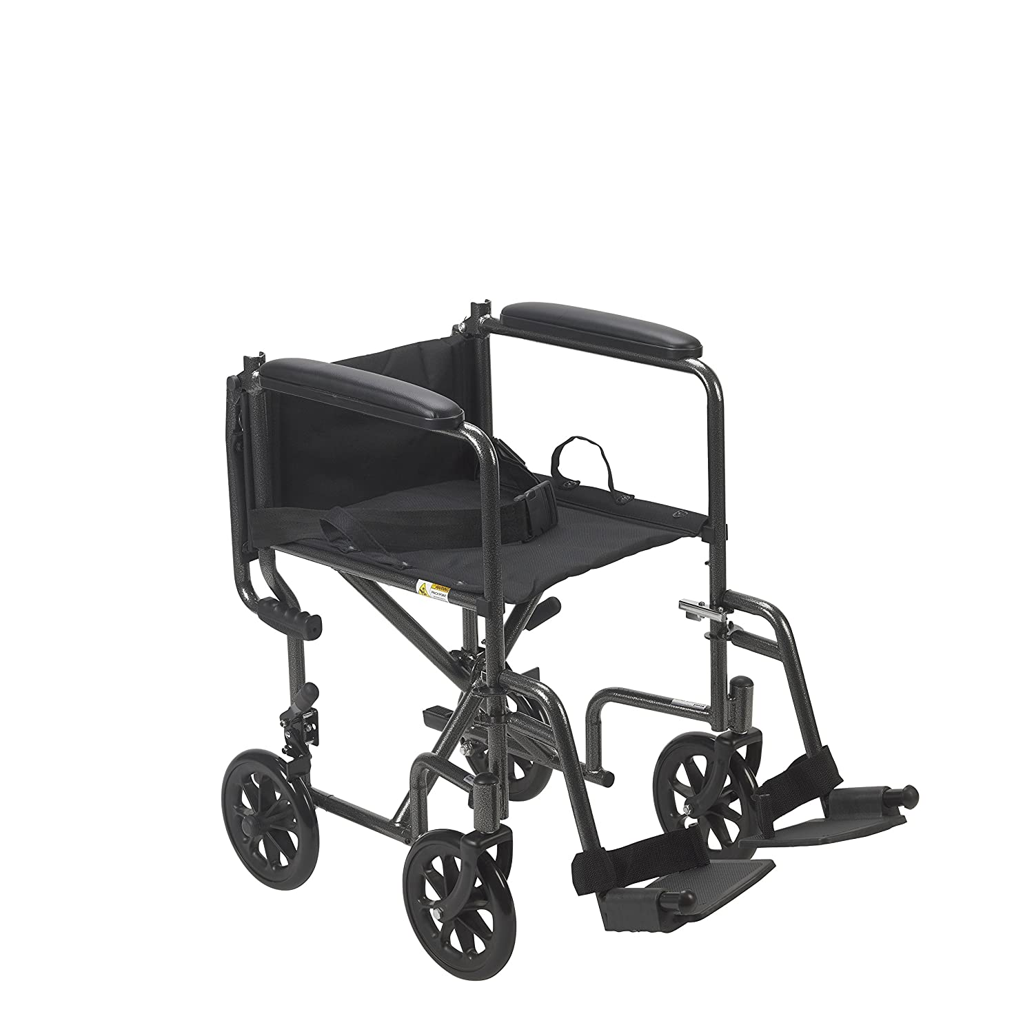 Drive Medical Lightweight Steel Transport Wheelchair Fixed Full Arms 19 Seat Silver
