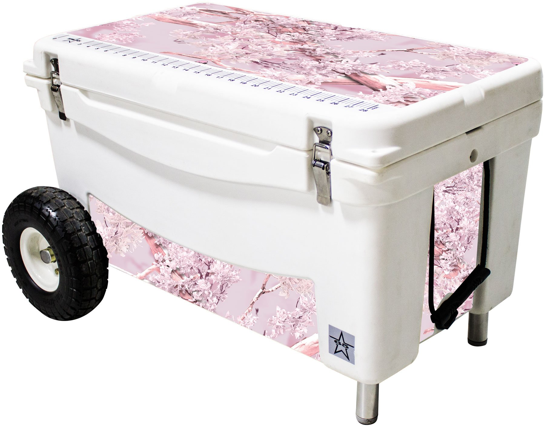 Frio Ice Chests 65Qt Extreme Wheeled White Hard Side with King's Camo Pink Theme Vinyl Wrap and Built-in Motion Sensitive Light Bar with Bottle Openers by Frio Ice Chests