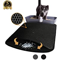 Aurrako Cat Litter Mats Trapper Mat, 76 x 61 cm Honeycomb Double Layer Tapis Litiere Chat, Easy Clean Non Toxic Kitty Litter Mat Suitable for Litter Tray Boxes(Black)
