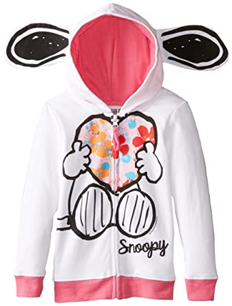 8a6de7c523 Amazon.com  Peanuts Girls  Snoopy Fleece Hoodie with Ears  Clothing
