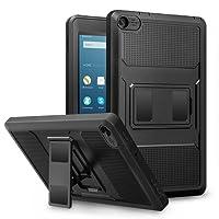 MoKo Hülle für Fire HD 2016 8 Zoll - [Heavy Duty] Ganzkörper-Rugged Hybrid Stand Cover Schutzhülle mit integriertem Displayschutz für Fire HD Tablet (Vorherige 6. Generation - 2016), Schwarz