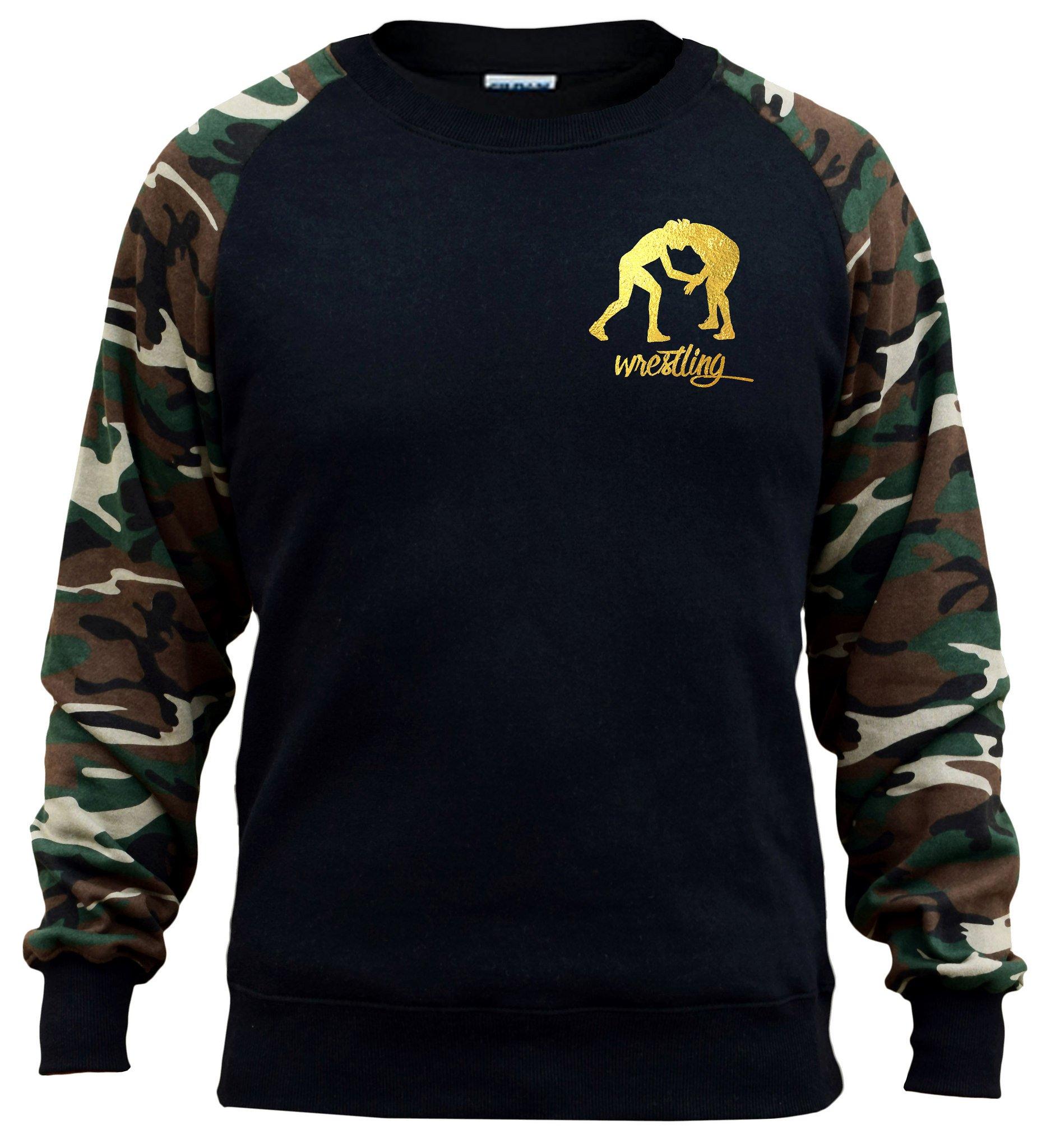 Men's Gold Foil Wrestling Emblem Black/Camo Raglan Baseball Sweatshirt Small Black