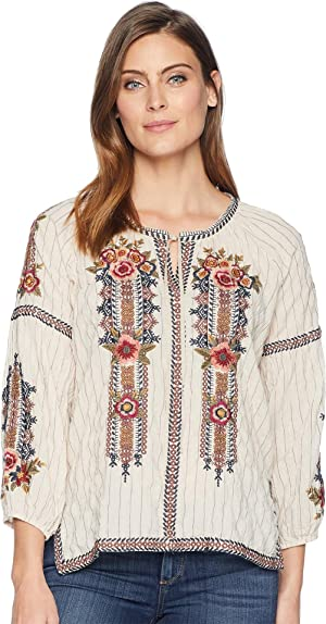 d7f5c5d500238 3J Workshop by Johnny Was embroidered peasant blouse with tie neck detail