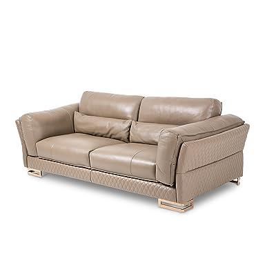 Michael Amini Monica Leather Standard Sofa, Taupe/Rosegold